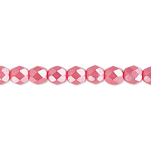 bead, czech fire-polished dipped decor glass, opaque pearlescent dusty rose, 6mm faceted round. sold per pkg of 1,200 (1 mass).