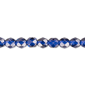 bead, czech fire-polished dipped decor glass, translucent cobalt, 6mm faceted round. sold per 16-inch strand.