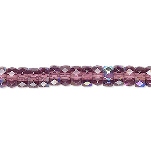 bead, czech fire-polished glass, amethyst purple ab, 6x3mm faceted rondelle. sold per 16-inch strand.