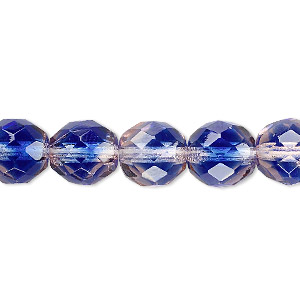 bead, czech fire-polished glass, blue and pink, 10mm faceted round. sold per 16-inch strand, approximately 40 beads.