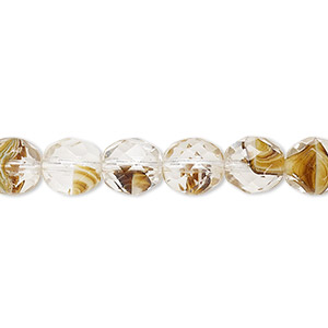 bead, czech fire-polished glass, clear and brown, 8mm faceted round. sold per 16-inch strand, approximately 50 beads.