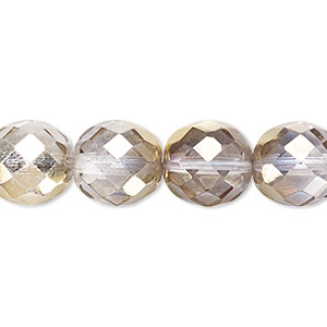 bead, czech fire-polished glass, clear and metallic gold, 12mm faceted round. sold per 16-inch strand.