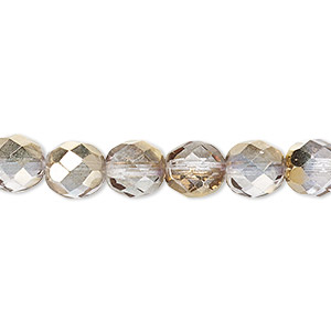 bead, czech fire-polished glass, clear and metallic gold, 8mm faceted round. sold per 16-inch strand.