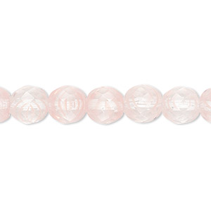 bead, czech fire-polished glass, clear and pink, 8mm faceted round. sold per 16-inch strand, approximately 50 beads.