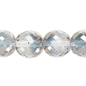 bead, czech fire-polished glass, clear and smoke, 14mm faceted round. sold per 16-inch strand.