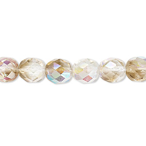 bead, czech fire-polished glass, clear and smoke ab, 8mm faceted round. sold per 16-inch strand.