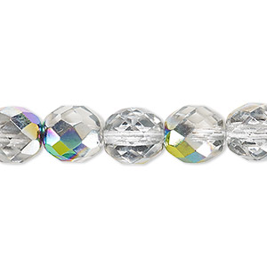 bead, czech fire-polished glass, clear vitrail, 10mm faceted round. sold per 16-inch strand.