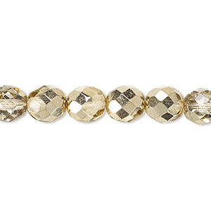 bead, czech fire-polished glass, clear with half-coat metallic pale gold, 8mm faceted round. sold per 16-inch strand.