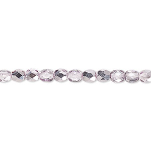 bead, czech fire-polished glass, clear with half-coat metallic pink silver, 4mm faceted round. sold per 16-inch strand.