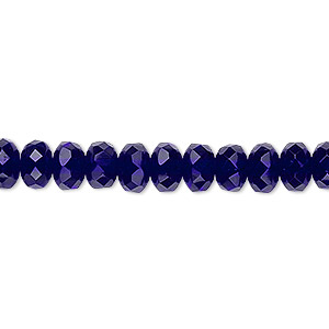 bead, czech fire-polished glass, cobalt, 7x5mm faceted rondelle. sold per 16-inch strand.
