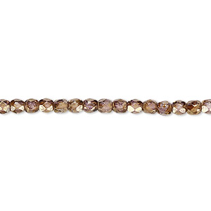 bead, czech fire-polished glass, copper luster, 3mm faceted round. sold per 16-inch strand.