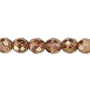 bead, czech fire-polished glass, copper luster, 8mm faceted round. sold per pkg of 600 (1/2 mass).