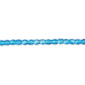 bead, czech fire-polished glass, dark aqua, 3mm faceted round. sold per pkg of 1,200 (1 mass).