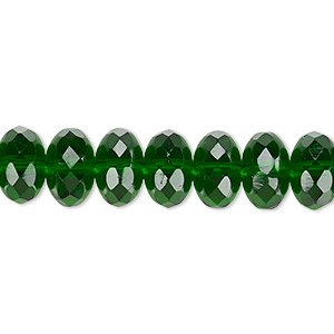 bead, czech fire-polished glass, emerald green, 11x7mm faceted rondelle. sold per 16-inch strand.