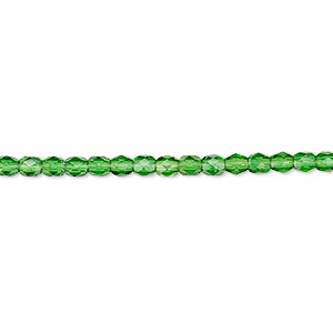 bead, czech fire-polished glass, emerald green, 3mm faceted round. sold per pkg of 1,200 (1 mass).