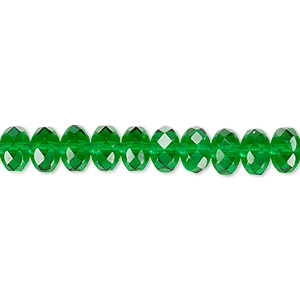 bead, czech fire-polished glass, emerald green, 7x5mm faceted rondelle. sold per 16-inch strand.