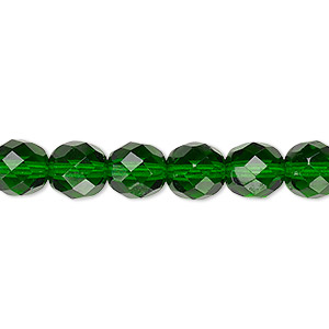 bead, czech fire-polished glass, emerald green, 8mm faceted round. sold per pkg of 600 (1/2 mass).