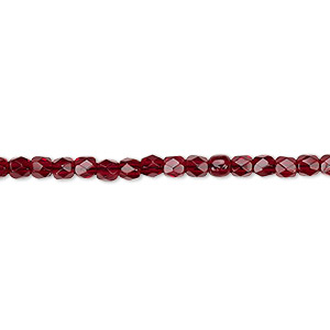 bead, czech fire-polished glass, garnet red, 3mm faceted round. sold per 16-inch strand, approximately 130 beads.