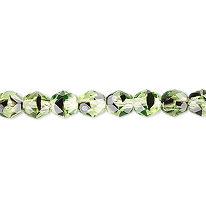 bead, czech fire-polished glass, green and brown, 6mm faceted round. sold per 16-inch strand.