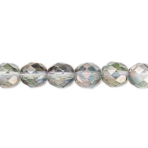 bead, czech fire-polished glass, green and grey luster, 8mm faceted round. sold per 16-inch strand.