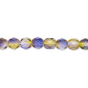 bead, czech fire-polished glass, green and purple, 6mm faceted round. sold per 16-inch strand, approximately 65 beads.