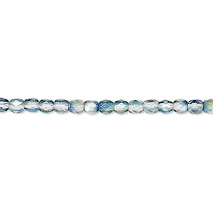 bead, czech fire-polished glass, green and teal luster, 3mm faceted round. sold per 16-inch strand.