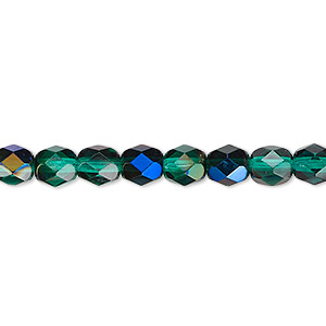bead, czech fire-polished glass, green blue iris, 6mm faceted round. sold per 16-inch strand.