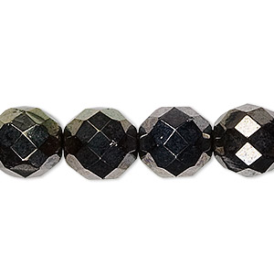 bead, czech fire-polished glass, hematite and gold luster, 12mm faceted round. sold per 16-inch strand.