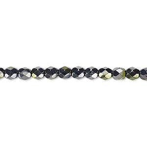 bead, czech fire-polished glass, hematite and gold luster, 4mm faceted round. sold per 16-inch strand.