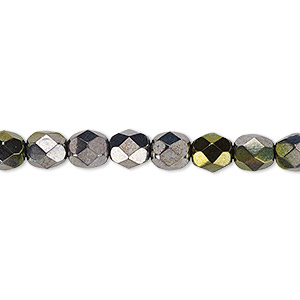bead, czech fire-polished glass, hematite and gold luster, 6mm faceted round. sold per 16-inch strand.