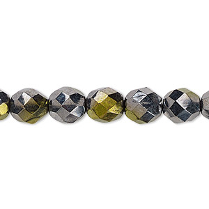 bead, czech fire-polished glass, hematite and gold luster, 8mm faceted round. sold per 16-inch strand.