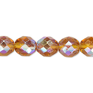 bead, czech fire-polished glass, honey ab, 10mm faceted round. sold per 16-inch strand.