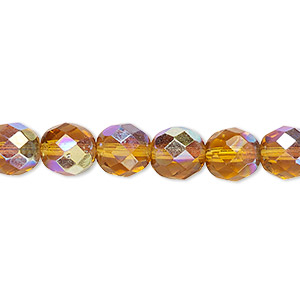 bead, czech fire-polished glass, honey ab, 8mm faceted round. sold per pkg of 600 (1/2 mass).