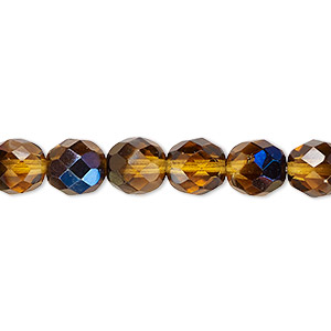 bead, czech fire-polished glass, honey blue iris, 8mm faceted round. sold per 16-inch strand.