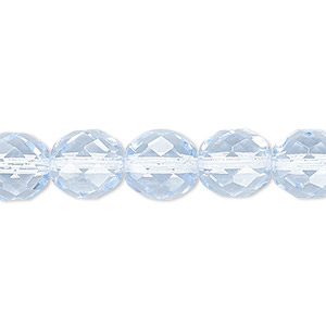 bead, czech fire-polished glass, ice blue, 10mm faceted round. sold per pkg of 600 (1/2 mass).