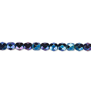 bead, czech fire-polished glass, iris blue, 4mm faceted round. sold per pkg of 1,200 (1 mass).