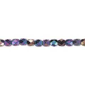 bead, czech fire-polished glass, iris purple, 4mm faceted round. sold per pkg of 1,200 (1 mass).