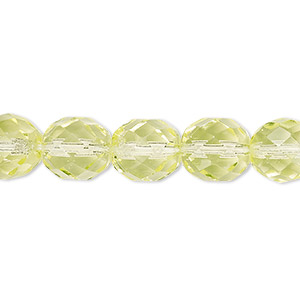 bead, czech fire-polished glass, lemon, 10mm faceted round. sold per pkg of 600 (1/2 mass).