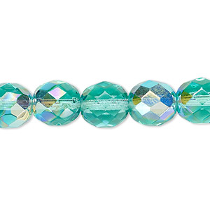 bead, czech fire-polished glass, light aqua ab, 10mm faceted round. sold per pkg of 600 (1/2 mass).