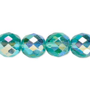 bead, czech fire-polished glass, light aqua ab, 12mm faceted round. sold per 16-inch strand.
