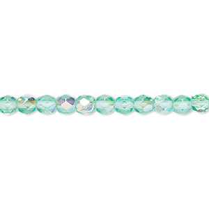 bead, czech fire-polished glass, light aqua ab, 4mm faceted round. sold per pkg of 1,200 (1 mass).