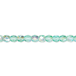bead, czech fire-polished glass, light aqua ab, 4mm faceted round. sold per 16-inch strand.