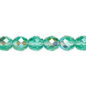 bead, czech fire-polished glass, light aqua ab, 8mm faceted round. sold per 16-inch strand.