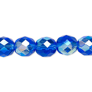 bead, czech fire-polished glass, light cobalt ab, 10mm faceted round. sold per 16-inch strand.