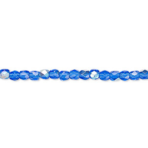 bead, czech fire-polished glass, light cobalt ab, 3mm faceted round. sold per pkg of 1,200 (1 mass).