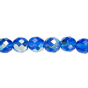 bead, czech fire-polished glass, light cobalt ab, 8mm faceted round. sold per 16-inch strand.