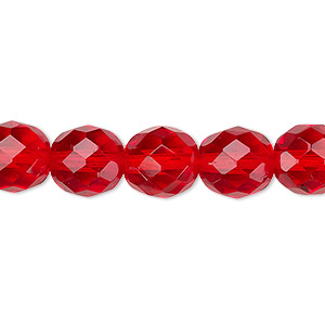 bead, czech fire-polished glass, light red, 10mm faceted round. sold per pkg of 600 (1/2 mass).