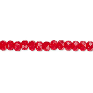 bead, czech fire-polished glass, light red, 5x4mm faceted rondelle. sold per 16-inch strand.
