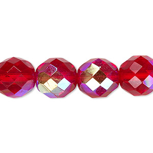 bead, czech fire-polished glass, light red ab, 12mm faceted round. sold per 16-inch strand.