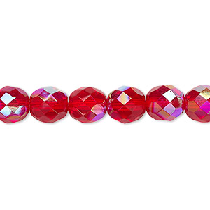 bead, czech fire-polished glass, light red ab, 8mm faceted round. sold per pkg of 600 (1/2 mass).